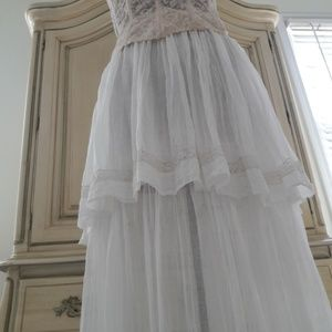 ANTIQUE GAUZE DOUBLE TIERED LONG SKIRT!